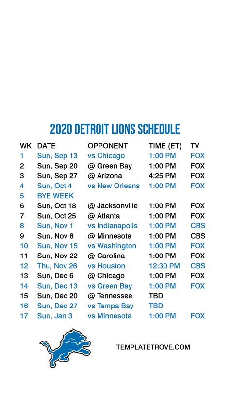 2020-2021 Detroit Lions Lock Screen Schedule for iPhone 6