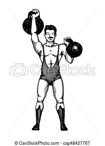 Circus strongman with dumbbell engraving vector