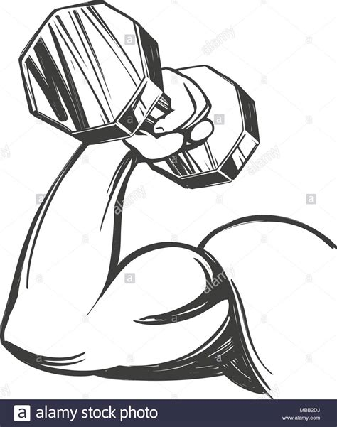 arm, bicep, strong hand holding a dumbbell, icon cartoon