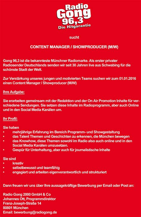 Radio Gong 96,3 sucht Content Manager / Showproducer (m/w