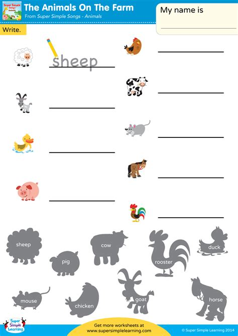 The Animals On The Farm Worksheet - Write The Animal